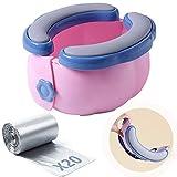 Baby Reise Töpfchen Outdoor Tragbare Toilette für Kinder Kleinkind Toilette faltbar mit PU-Kissen TPR-Kunststoffbezug stabiler rutschfester leicht zu tragen und Wandern mit Aufbewahrungstasche 20