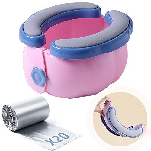 Baby Travel Potty - Asiento de Inodoro Portátil con cojín de PU Cubierta para Bebés Niños Pequeños Viajes al Exterior o Entrenamiento para ir al Baño con Bolsa de Almacenamiento 20 Bolsas de Plástico