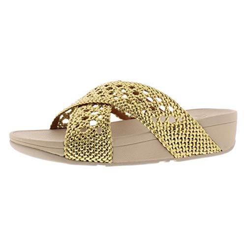 FitFlop Lulu - Sandalias casuales de mimbre para mujer, Dorado (Dorado (Artisan Gold)), 36 EU