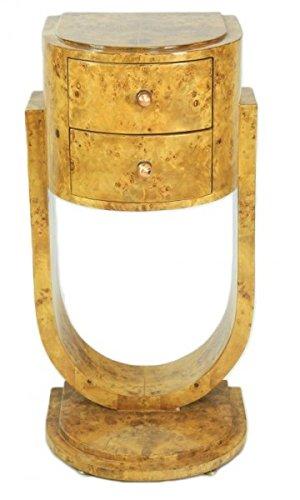 Casa Padrino Art Deco Schubladen Schrank Vogelaugenahorn - Handgefertigt aus Massivholz - Nachtschrank Nachttisch Kommode BW