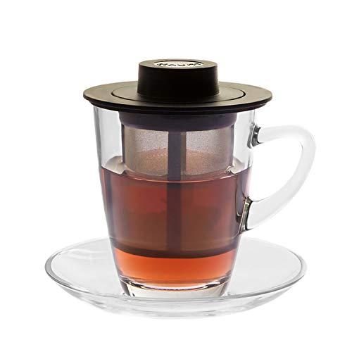 finum HORECA SYSTEM Glastasse mit Dauerfilter aus feinstem Edelstahl - Untertasse und Filter 250 ml