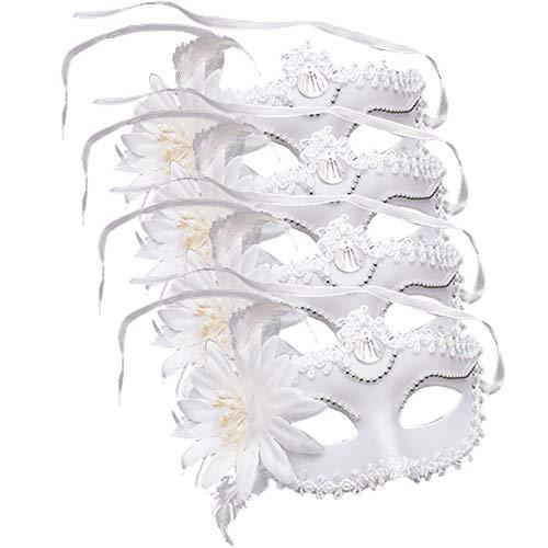 Venezianische Federn Masken Gras Ball Masken Federn Party Weiß Masken Mask Prom Kunststoff Masken Weiße Mardi Gras Masken Masquerade Federn Masken Venezianische Prinzessin Masken Lilie Masken(4 Pcs)