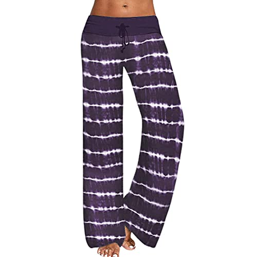 MLLM Leggings No Transparenta Cintura Alta,Pantalones de Yoga Estampados Sueltos, Pantalones Deportivos de Pierna Ancha para Mujer-Violeta_XL,Pantalones de Yoga Pantalones Pirata Deporte