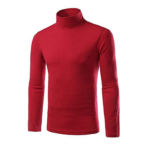 Heren shirt rolkraag trui rolkraag lange mouwen gespen longsleeve Chic Slim Fit eenkleurig T-shirt zwart