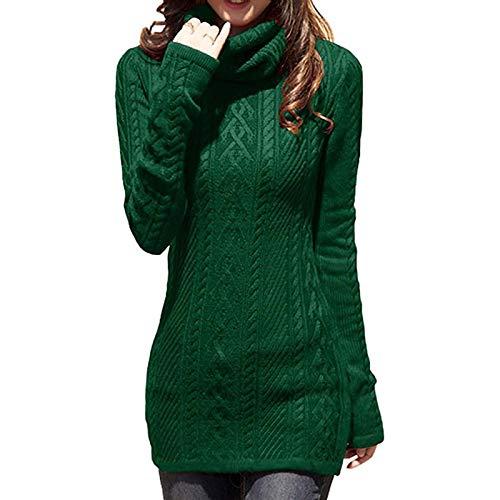 Jersey Suéter Sweater Vestido De Suéter Largo para Mujer, Cuello Alto, Otoño, Jersey Grueso, De Punto, Invierno, Ajustado, Vintage, Cálido, Suéter, M Verde