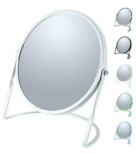 Spirella colección Akira, Espejo de pie para tocador o baño 18,4x10,5x18,4 (Reversible: 100% y x5 aumentos), Acero, Blanco
