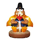 SEASONJOY 7Ft Thanksgiving Inflatables Turkey Wearing A Round Pilgrim Hat Decoration, Outdoor Thanksgiving Blow up Decor for Yard