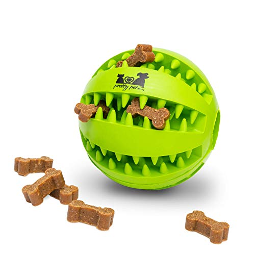 pretty petZ® Hundeball mit Zahnpflege-Funktion Noppen aus Naturkautschuk | Robuster Hunde Ball | Hundespielball für Große & Kleine Hunde | Kauspielzeug für Leckerli (1 - Dental Ball Ø 7 cm, Grün)