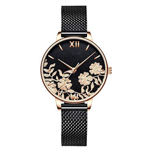 HRWVOR Relojes para Mujer, Mujer Moda Reloj de Pulsera de Cuarzo con Banda y patrón de Acero Inoxidable, Relojes Elegantes para Mujer Regalos de Reloj de Pulsera de Negocios (Color : Black)