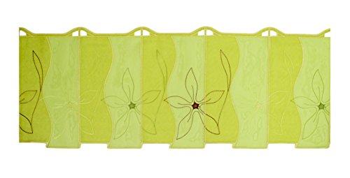 Luis Bistrogardine Scheibengardine Lindgrün original Plauener Spitze Organza + Voile Höhe 30 cm Breite individuell wählbar