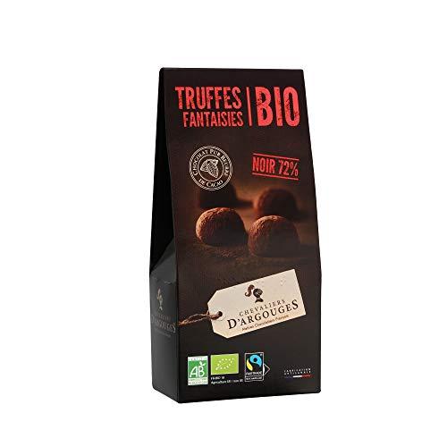 CHEVALIERS D'ARGOUGES Maîtres Chocolatiers Français Truffes Fantaisies Chocolat Noir 72% de Cacao Bio/Équitable Étui Dégustation 160 g