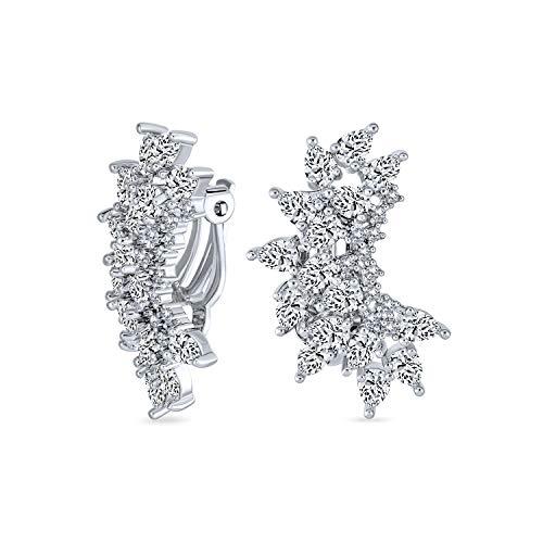 Elegante classico lacrime sposa forma ear crawler grappoli cubici Zirconia AAA CZ Clip foglia sugli orecchini per le donne matrimonio ballo festa formale placcato argento