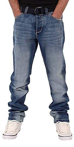 Peviani Uomo Ragazzo Downham Star Jeans vestibilità Dritta Hip G Time Is Hop Money Swb - Stonewash Blu, Stonewash Blu, W32 - L33