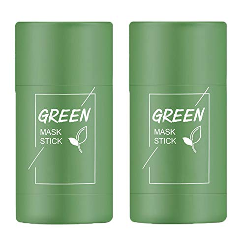 2PCS Green Tea Purifying Clay Stick Mask, Face Moisturizes Oil Control, Deep Clean Pore, Blackhead Remover Acne Deep Cleansing, Improves Skin for Women Men (Green Tea Mask)