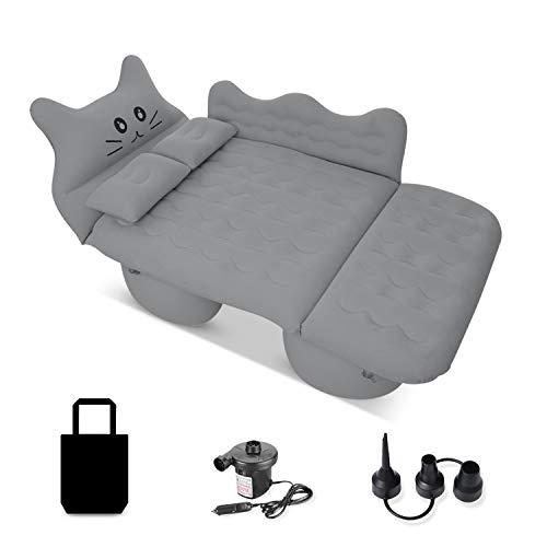 Ergocar Auto Luftmatratze Glückliche Katze Aufblasbare Matratze mit Pumpe Air Bett Camping Auto Kissen für Reisen Camping Hinterhof Strand (Grau)