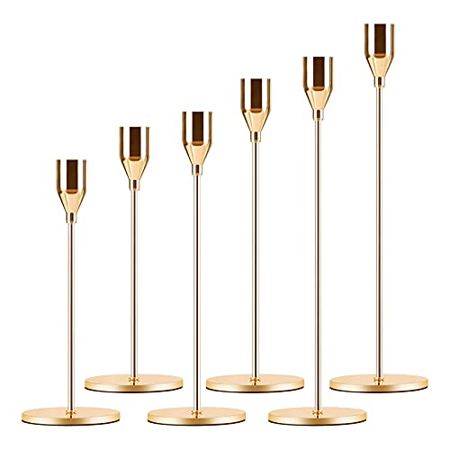 Candle Holder 6 in 1 Set Candlestick Holders Fits 3/4 inch Thick Taper Candle&Led Candles for Wedding,Dining,Party,Home Decoration(6, Gold)