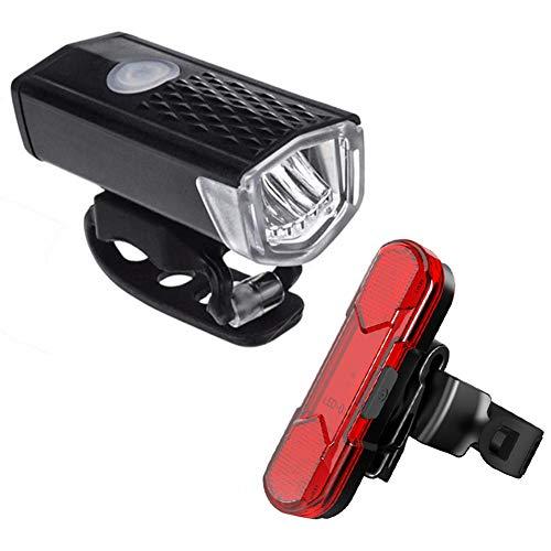 WYW Luz Bicicleta Recargable USB, Linterna Bicicleta Impermeable con Luz Bicicleta Delantera,Luz Trasera Bicicleta,Luz LED Bicicleta para Carretera y Montaña,Seguridad para la Noche,1