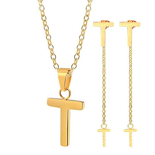 Burenqi Vrouwen Dainty T Letter Ketting Met Oorbel Zilver RVS Letter T Hanger En Stud Oorbel Voor Mode Sieraden Set