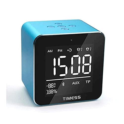 ZHANGCHI Pequeña DIRIGIÓ Reloj de alarma digital con snooze, fácil de configurar, regulador de brillo de rango completo, volumen de alarma ajustable, USB Cargador, reloj compacto para dormitorios, cab