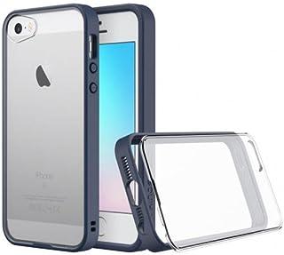 iPhone SE 5 / 5s用ショックアブソーバーヘビーデューティー保護カバー - レンズ付き - 互換性のあるダークブルーバンパー付きクリアバック - iPhone SEプレミアムモジュラースリムケース[RhinoShield Mod]