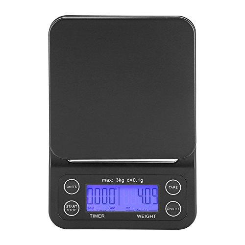 Báscula Digital Cocina Café Electrónico Goteo Escala Comida 3KG / 0.1g LCD Digital Pesa con Contador Tiempo (Violeta Azulado)