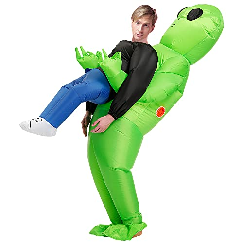 funny halloween costumes Inflatable Alien Costume for Adult, Funny Inflatable Halloween Costume Alien Blow Up Costume, Suitable for Height 5.3~6.2FT