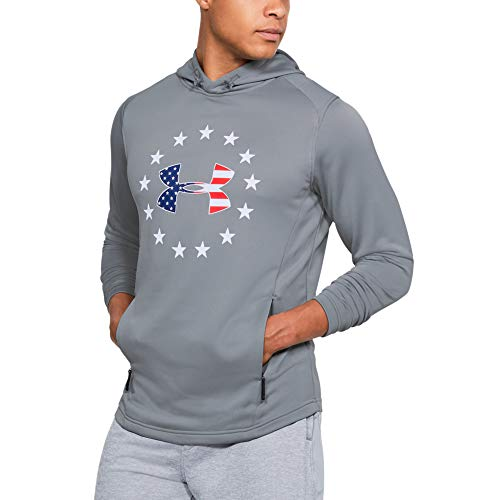 Under Armour Men's Freedom Tech Terry Hoodie, Steel (035)/White, Large