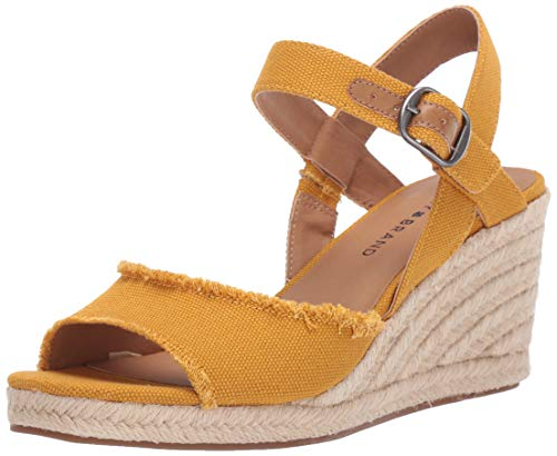 Lucky Brand Women's MINDRA Espadrille Wedge Sandal, Saffron, 8.5 M US