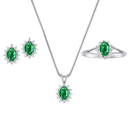 Auténtica Natural verde esmeralda y diamante Colgante, pendientes y juego de anillos en plata de ley .925con cadena y caja de regalo