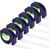 Airmall Compatible Label Tape Replacement for Dymo LetraTag Label Refills 91330 S0721510 12mm x 4m LT White Paper Tape Work with LetraTag LT-100H LT-100T Label Maker, 1/2Inch x 13 Feet, 6 Pack