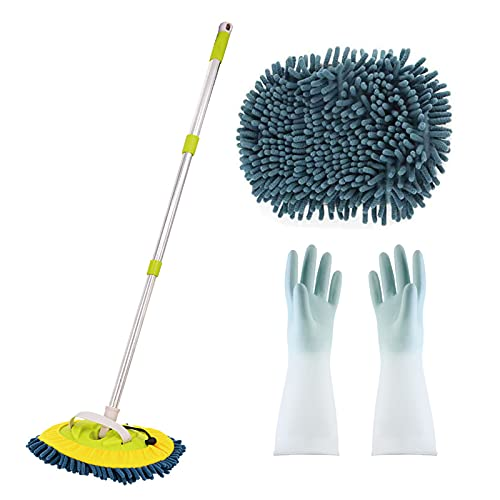 TYJH 3-in-1 Wash Mop Mitt 180 Degree Rotation, Retractable Rotating Car Washing Brush Cleaning Mop, Auto Care, Car Wash Brush with Long Handle