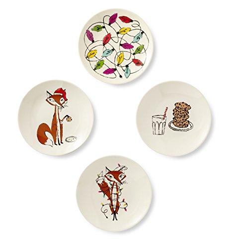 Kate Spade New York Women's Melamine Tidbit Plates, Dishwasher Safe, Set of 4, Fox