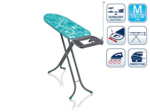 Leifheit Bügeltisch AirBoard Express M Compact 60years Color Edition grün, ideal für Dampfstationen, kompakt zu verstauen, Bügelbrett mit Baumwollbezug, Dampfbügelbrett mit ultraleichter Bügelfläche