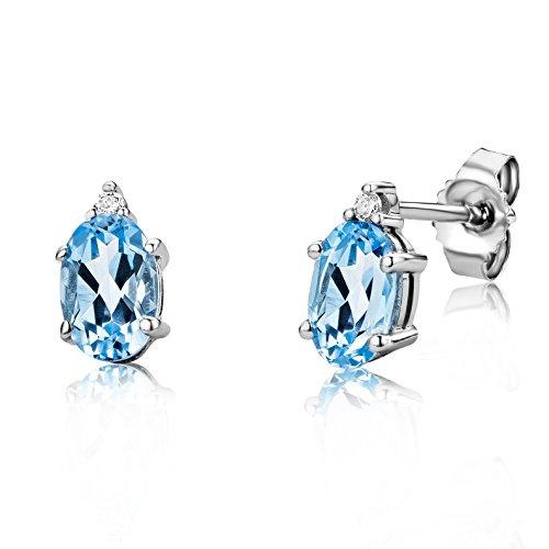 Miore Orecchini Donna Piccoli a Lobo Topazio Blu con Diamanti taglio Brillante Oro Bianco 9 Kt / 375