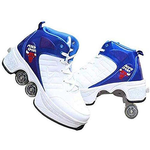 Masskko Unisex vervormingsrolschoenen, skateboardschoenen met 4 wieltjes, multifunctionele sportschoenen, loopschoenen
