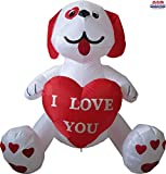 4' Air Blown Inflatable White Puppy Holding I Love You Heart Valentine's Day Yard Decoration