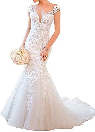 iluckin Sexy Damen Spitze Schlüsselloch V-Ausschnitt Meerjungfrau Lang Brautkleider Hochzeitskleider mit Schleppe