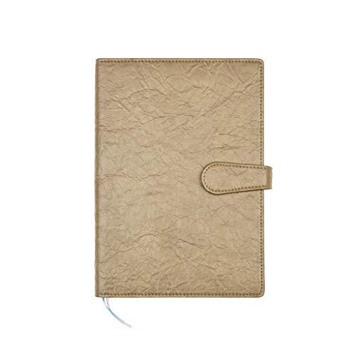 BENO Cuaderno clásico A5 Cuaderno de Cuero Simples del Asunto, Cuaderno con Hebilla, Reunión de Trabajo Oficina de Registro de la libreta Exquisita Literatura portátil (Color : Gold)