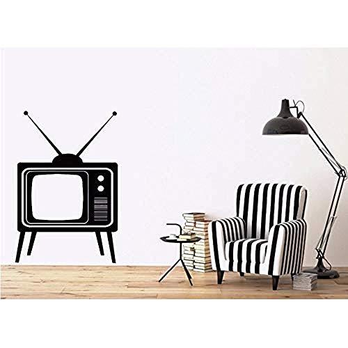 Jhping Muursticker Afneembare Muursticker Grote Oude TV-apparaat met Antennes Vinyl Decal DIY Muurstickers Huisdecoratie Woonkamer Muurschildering 56 * 89Cm