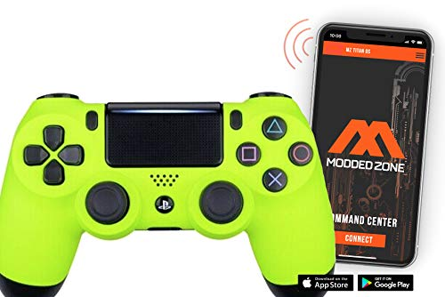 Soft Neon Yellow PS4 PRO Smart Rapid Fire Modded Controller Mods for FPS All Major Shooter Games Warzone & More (CUH-ZCT2U)