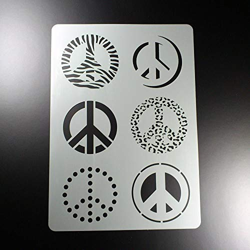Schablone Peace Symbol Zeichen 6 Motive - BA24