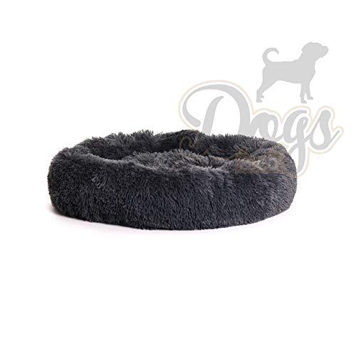 Luxe katten & hondenmand - Donut - Heerlijk zacht - Fluffy - Antraciet - 70 cm - Size M