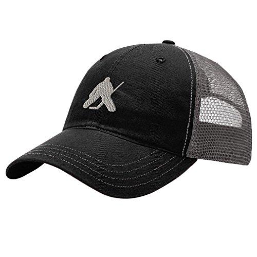 Speedy Pros Hockey Goalie Style 2 Embroidery Design Richardson Cotton Front/Mesh Back Cap Black/Charcoal