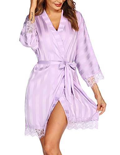 Hotouch Silk Robes for Women Satin Long Kimono Robes Bridesmaid Wedding Party Dressing Gown Lavender Small