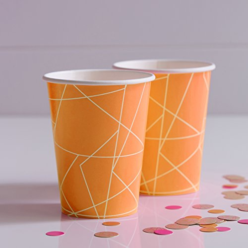 Ginger Ray Hot Pink and Orange  Neon Geometric Paper Party Cups X 8