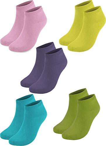 normani 10 Paar Baumwolle Sommer Sneaker Socken für Damen und Herren Auswahl Farbe Rosa/Lila/Grün/Gelb/Türkis Größe 37-42