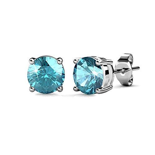 Jim & Madeleine Pendientes de mujer de color azul claro con piedras Swarovski en aguamarina, en elegante caja de regalo.
