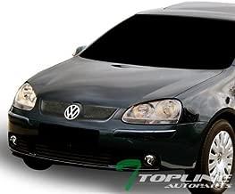 Topline Autopart Matte Black Aluminum Mesh Front Hood Bumper Grill Grille ABS For 06-09 Volkswagen Golf Rabbit MK5