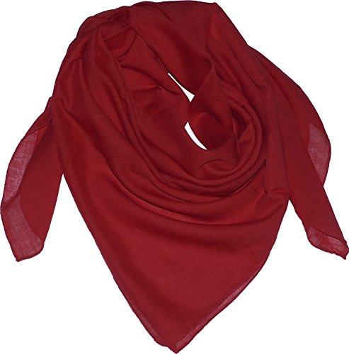 Harrys-Collection Damen Herren Baumwolltuch in vielen Farben 100 x 100 cm, Größen:Einheitsgröße, Farben:dunkelrot