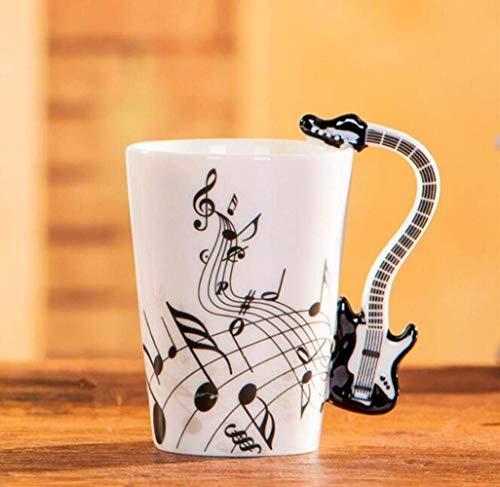 XYSQWZ Juego De Té Tazas 400ml Taza De Música Estilo Creativo De Violín Guitarra Taza De Cerámica Café Té Leche Tazas De Duela con Asa Tazas De Café Regalos Novedosos Estilo 3400ml T